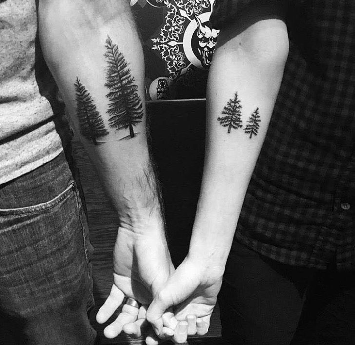 Pine Tree Tattoos for Couple