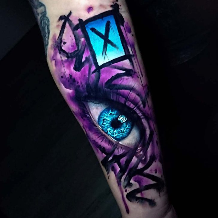 watercolor tattoo purple eye