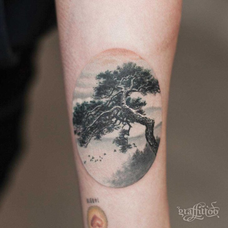 Realistic Pine Tree Tattoo
