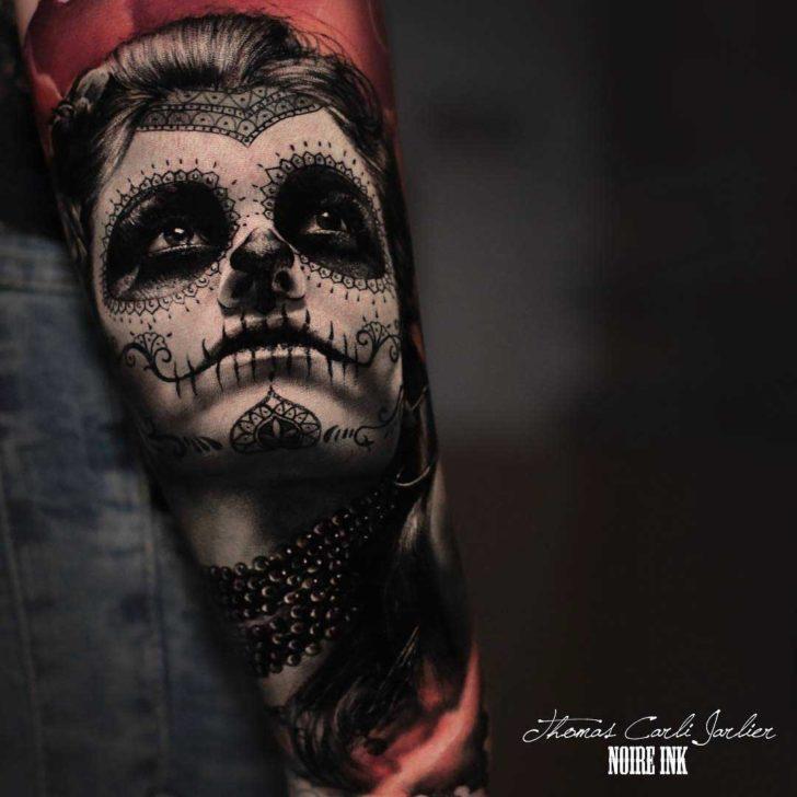chicano realistic tattoo santa muerte