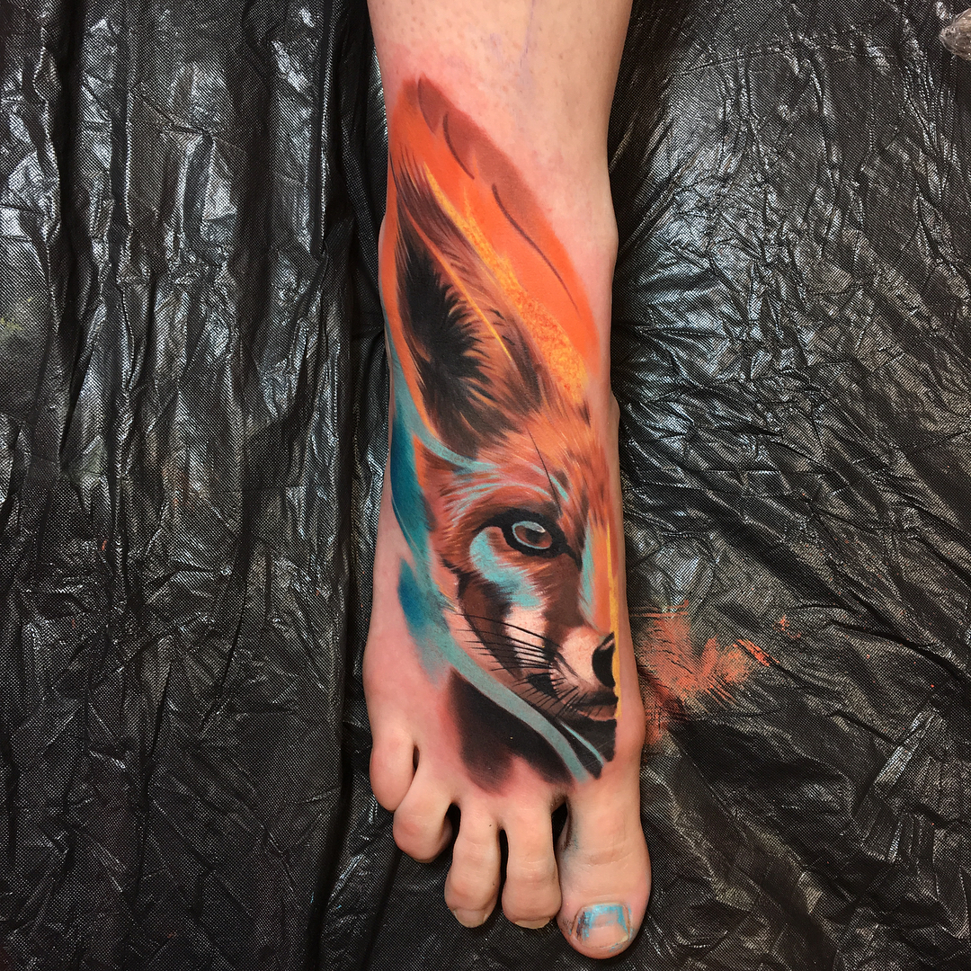 foot tattoo fox