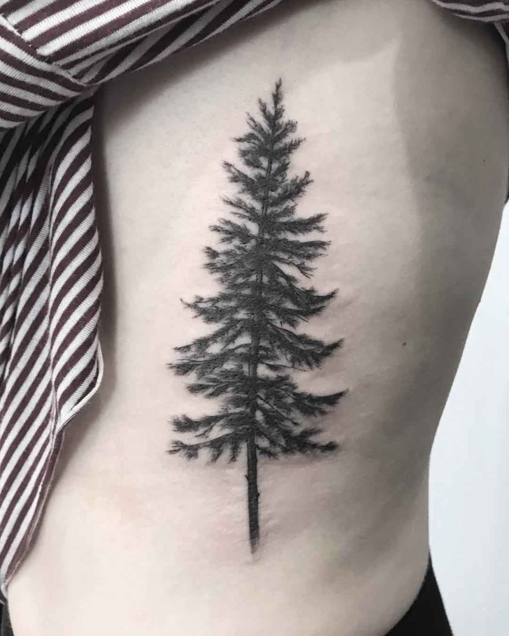 Rib Tattoo Pine Tree