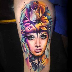 Rose Bud Girl Tattoo