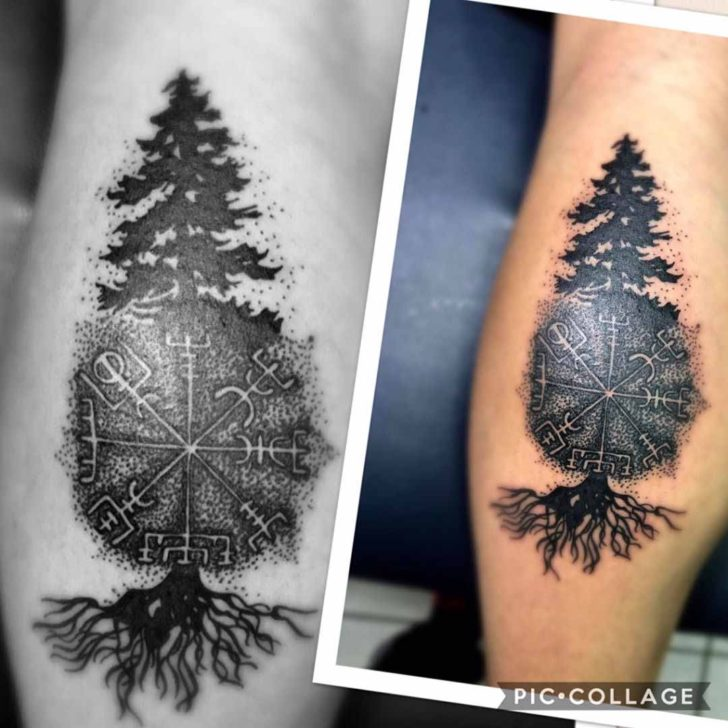 Runic Pine Tree Tattoo