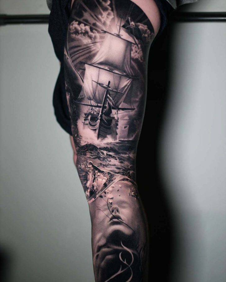 Seascape tattoo sleeve on leg best tattoo ideas gallery for Thigh sleeve tattoo