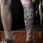 Shin Tattoo Lettering