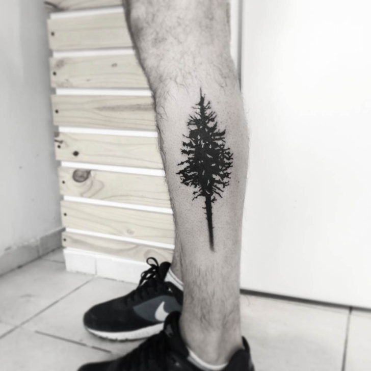 Side Calf Tattoo Pine Tree