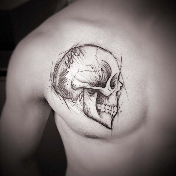chest tattoo skull