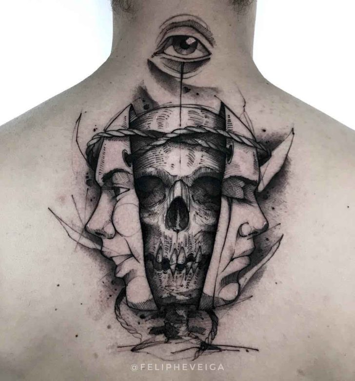 back neck tattoo masks and skull