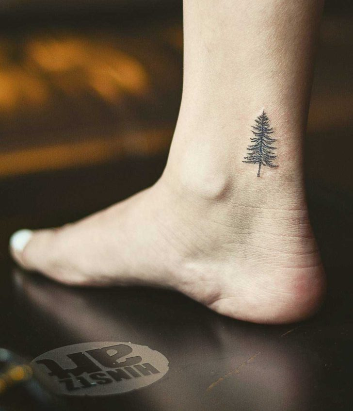 Small Ankle Tattoo Pine