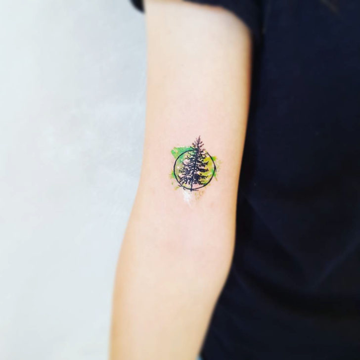 Small Watercolor Pine Tree Tattoo