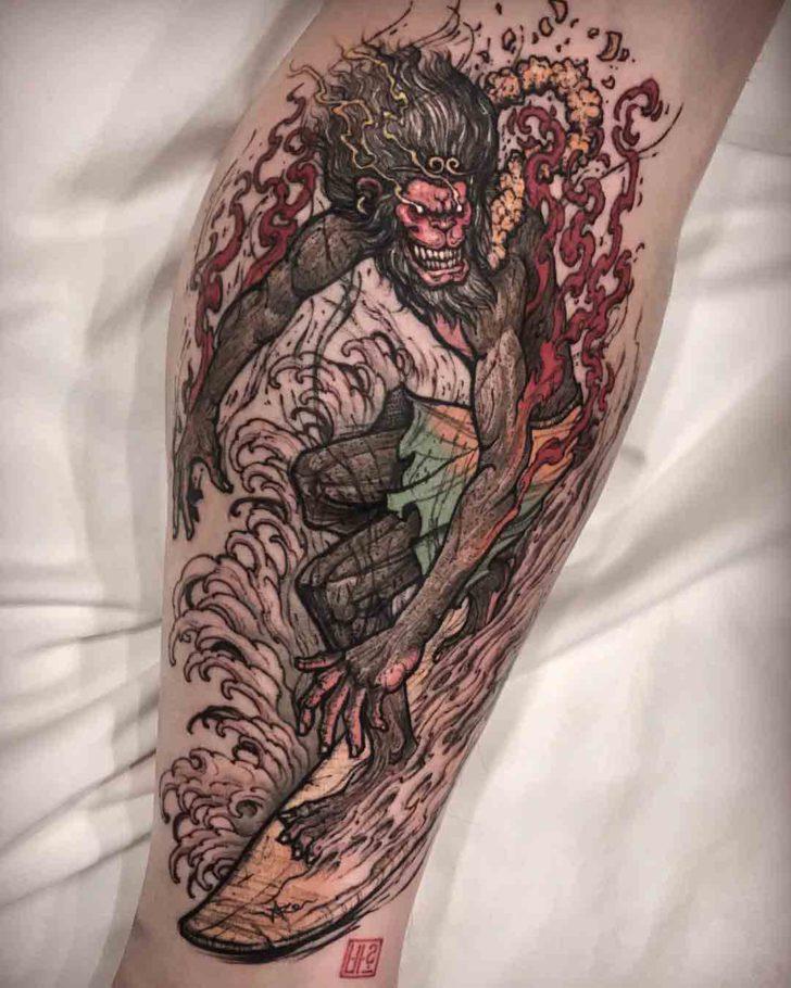 monkey king tattoo surfing