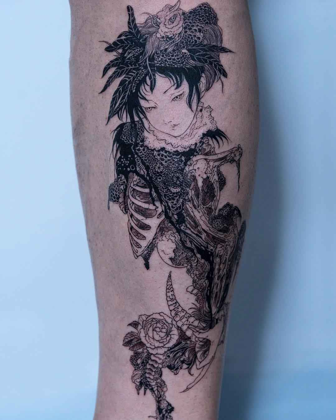 the art style tattoo of Takato Yamamoto