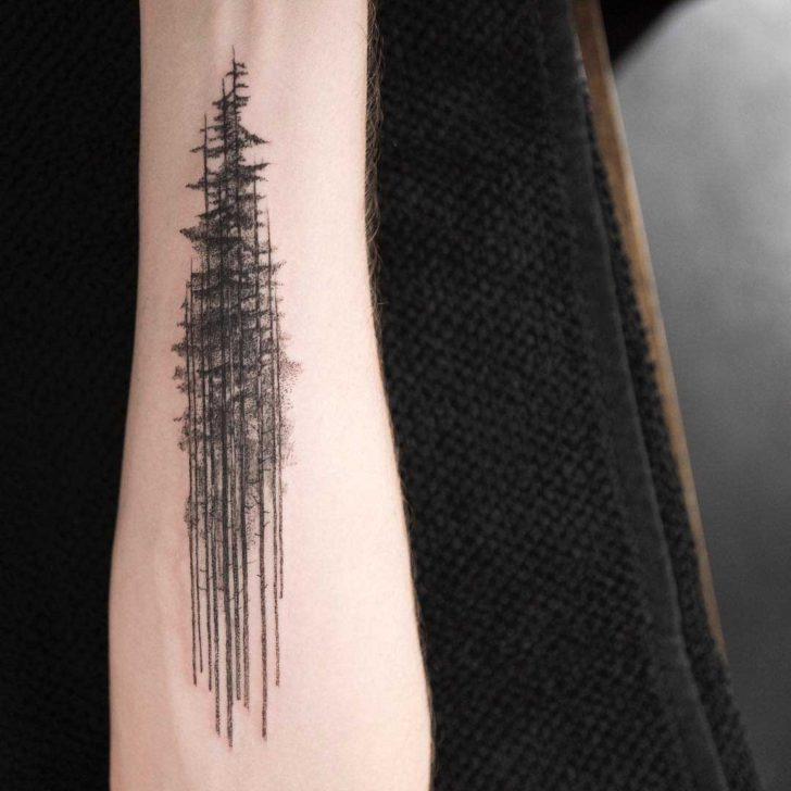 Tall Pine Forest Tattoo