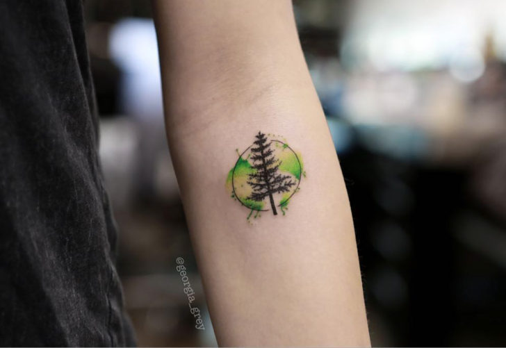 Thin Circle Pine Watercolor Tattoo