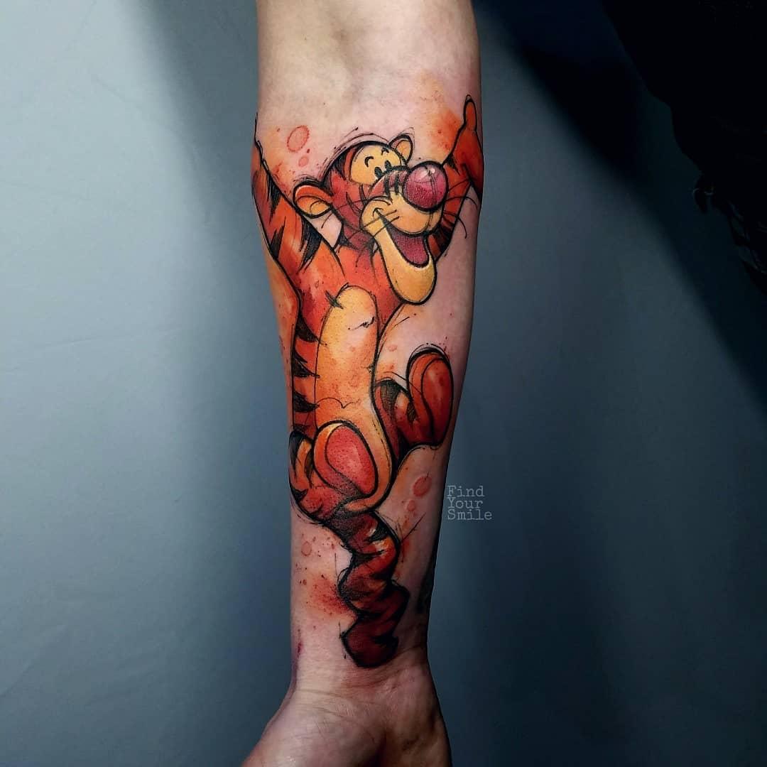 watercolor tigger tattoo winnie the pooh