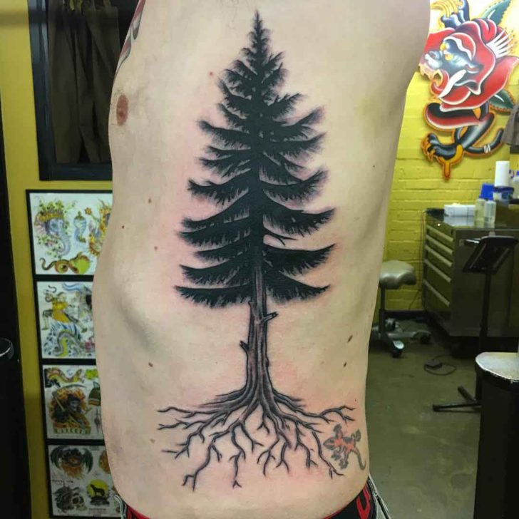 Torso Side Pine Tree Tattoo