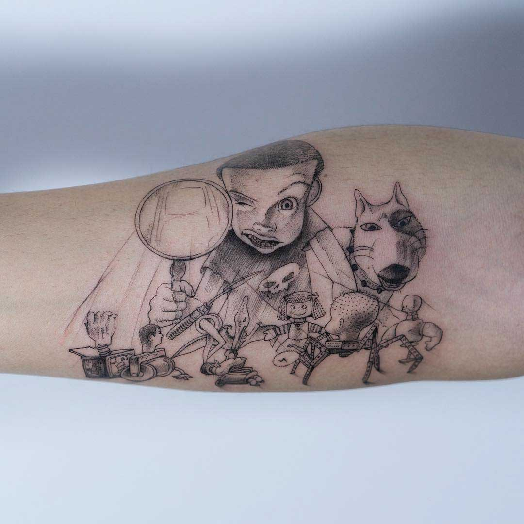sid's toys tattoo toy story on arm