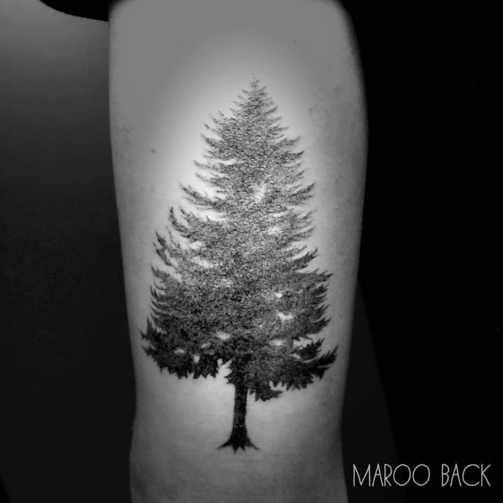 Tricep Tattoo Pine Tree