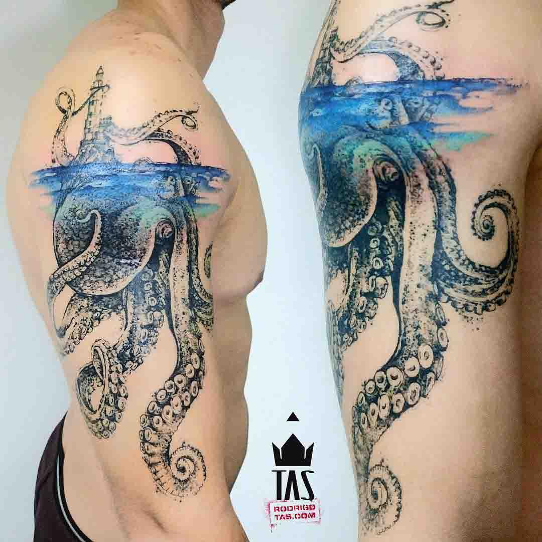 shoulder Kraken tattoo nautical underwater