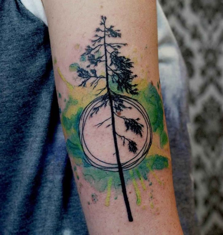 Watercolor Circle Pine Tree Tattoo