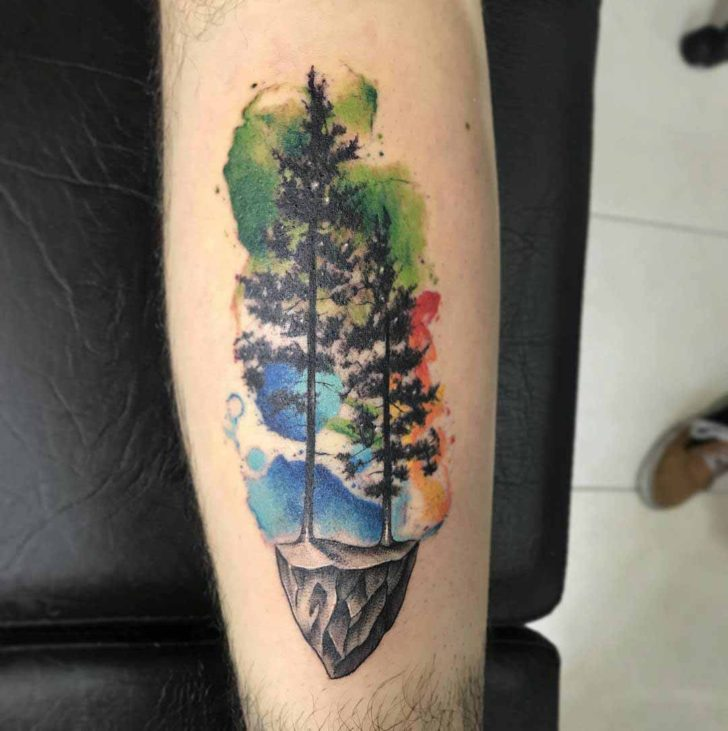 Watercolor Pine Tree Tattoo