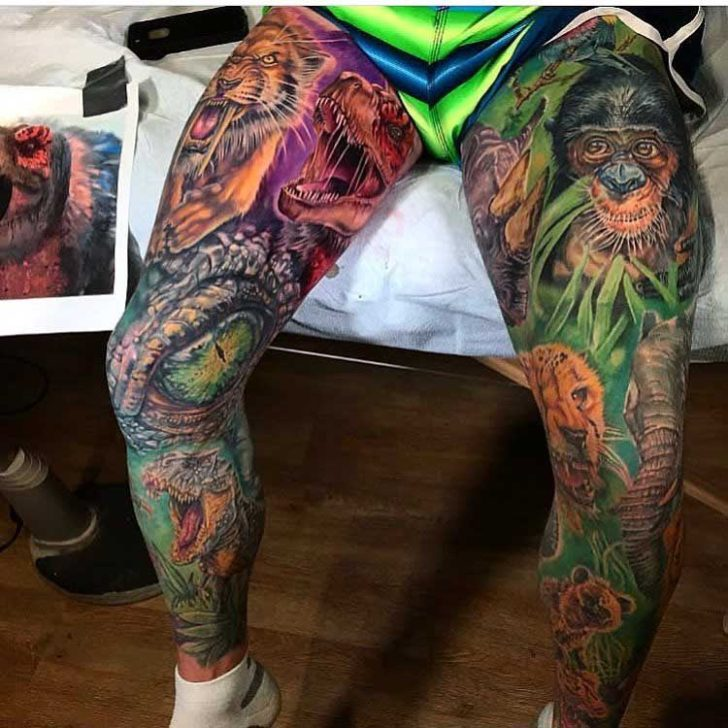 Wild life leg tattoo sleeves best tattoo ideas gallery for Thigh sleeve tattoo