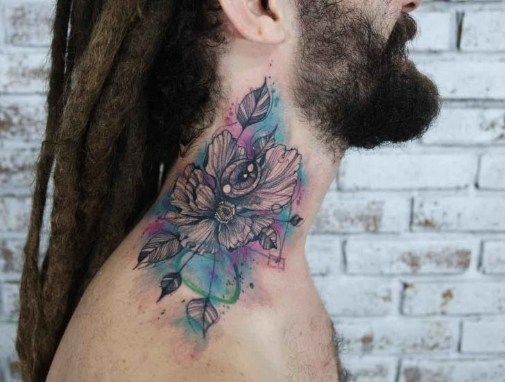 neck tattoo flower with eye