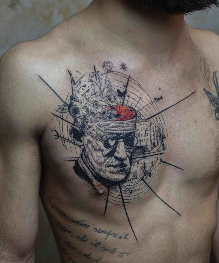 abstract thinking tattoo on chest