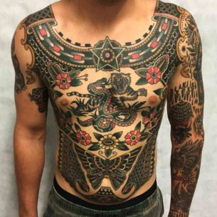 Amazing Traditional Tattoo on Full Body