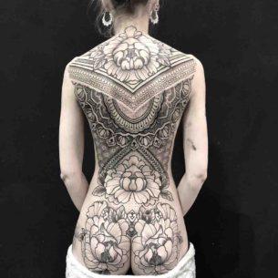 Full Back Tattoo Girl