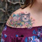 Bear Tattoo on Collar Bone