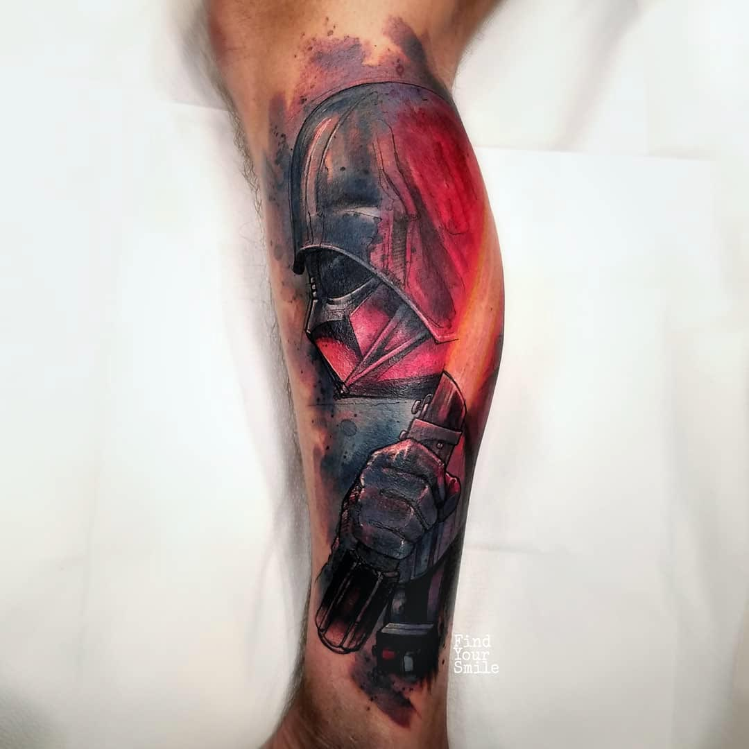 calf tattoo star wars darth vader