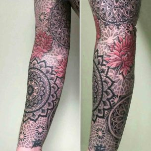 Dotwork Mandala Tattoo Sleeve