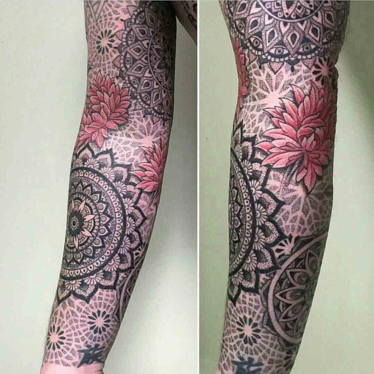 tattoo sleeve mandala dotwork style