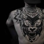 Dotwork Wolf Tattoo on Upper Back