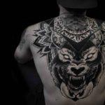 Dotwork Wolf Tattoo on Upper Back