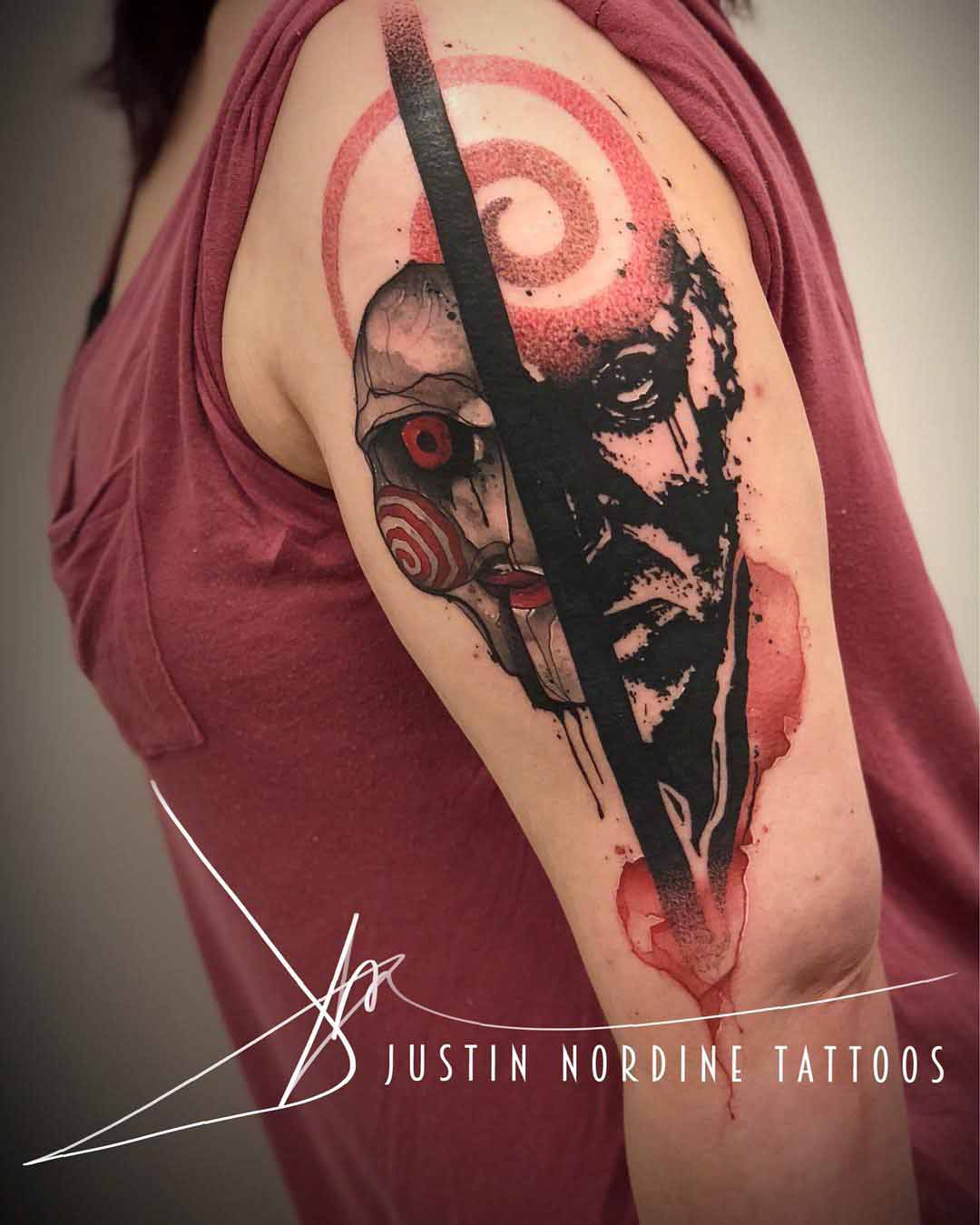 shoulder tattoo jigsaw John Kramer