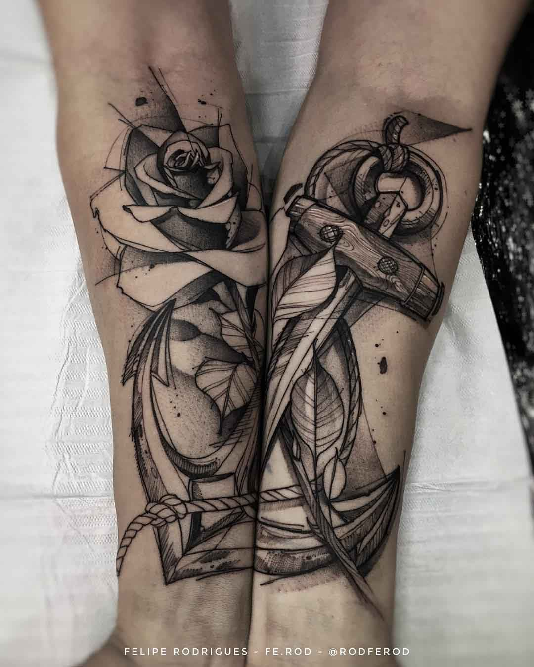 forearms tattoo anchor