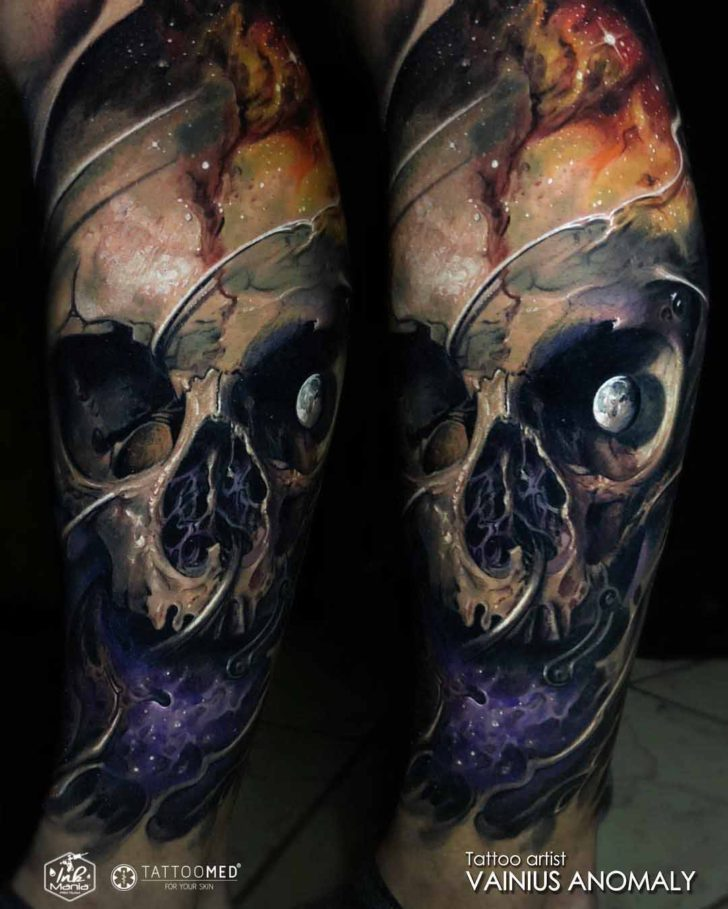 skull tattoo moon eye
