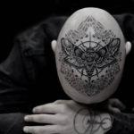 Moth Tattoo on Head
