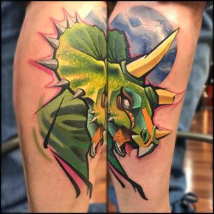 New School Tattoo Triceratops