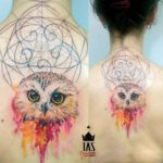 Owl Tattoo on Upper Back