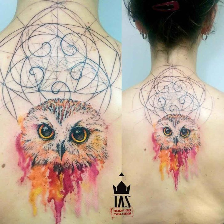 upper back tattoo owl