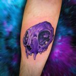 Purple Cat Skull Tattoo