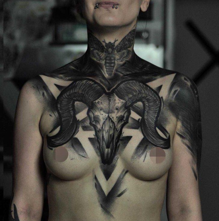 chest tattoo ram skull