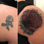 Rose Tattoo Cover Up on Shoulder Blade