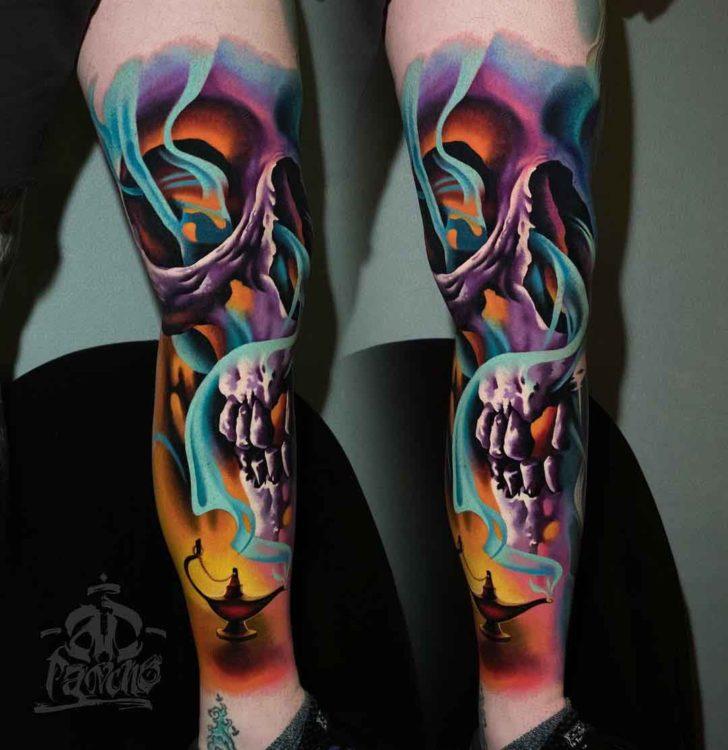 leg tattoo jinn skull