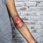 Sunset Tattoo on Inner Elbow