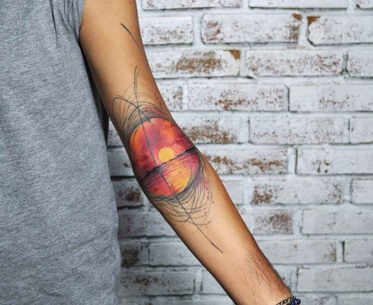 inner elbow tattoo sunset